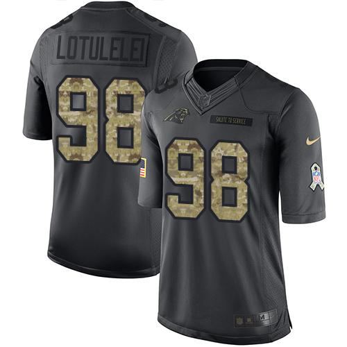 Nike Panthers #98 Star Lotulelei Black Men's Stitched NFL Limited 2016 Salute to Service Jersey