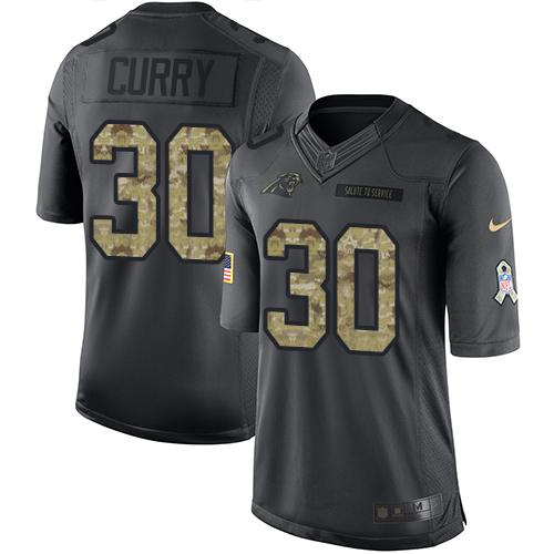Nike Panthers #30 Stephen Curry Black Men's Stitched NFL Limited 2016 Salute to Service Jersey