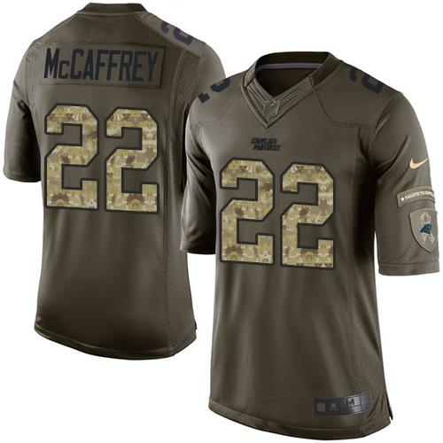 Nike Panthers #22 Christian McCaffrey Green Men's Stitched NFL Limited Salute to Service Jersey