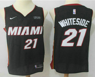 Men's Miami Heat #21 Hassan Whiteside Black 2017-2018 Nike Swingman Ultimate Software Stitched NBA Jersey