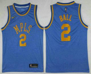 Men's MPLS. #2 Lonzo Ball New Light Blue 2017-2018 Nike Swingman Stitched NBA Jersey