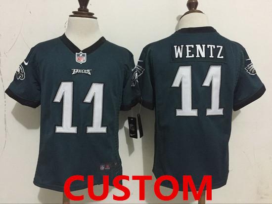 Custom Toddler Philadelphia Eagles Green Team Color Stitched NFL Nike Game Jersey