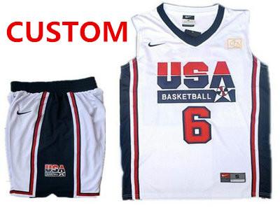 Custom USA Basketball Retro 1992 Olympic Dream Team White Basketball Suit