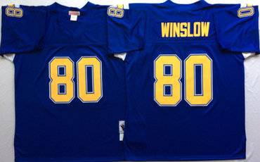 Chargers 80 Kellen Winslow Blue Throwback Jersey