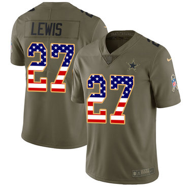 Nike Cowboys #27 Jourdan Lewis Olive Men's USA Flag 2017 Salute to Service NFL Limited Jersey