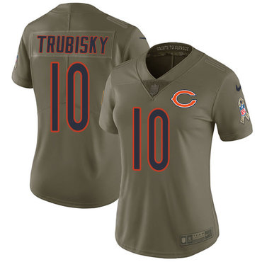 Women's Nike Chicago Bears #10 Mitchell Trubisky Olive Stitched NFL Limited 2017 Salute to Service Jersey