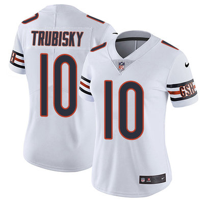ID89794 Women\'s Nike Chicago Bears #10 Mitchell Trubisky White Stitched NFL Vapor Untouchable Limited Jersey
