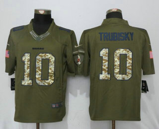 Men's Chicago Bears #10 Mitchell Trubisky Green Salute To Service Stitched NFL Nike Limited Jersey