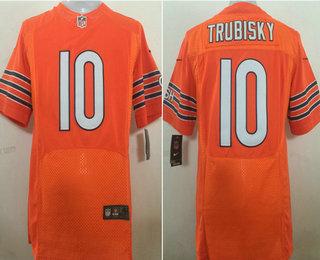 ID89784 Men\'s Chicago Bears #10 Mitchell Trubisky Orange Alternate Stitched NFL Nike Elite Jersey