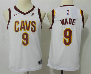 Youth Cleveland Cavaliers #9 Dwyane Wade New White 2017-2018 Nike Swingman Wish Stitched NBA Jersey