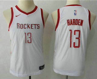 Youth Houston Rockets #13 James Harden New White 2017-2018 Nike Swingman Stitched NBA Jersey