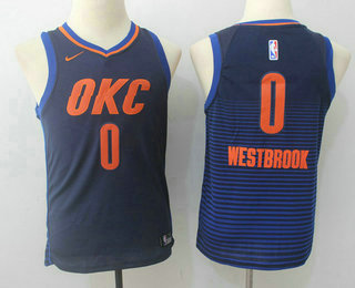 Youth Oklahoma City Thunder #0 Russell Westbrook Navy Blue 2017-2018 Nike Swingman Stitched NBA Jersey