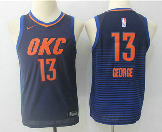 Youth Oklahoma City Thunder #13 Paul George Navy Blue 2017-2018 Nike Swingman Stitched NBA Jersey