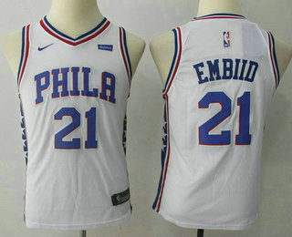 Youth Philadelphia 76ers #21 Joel Embiid White 2017-2018 Nike Swingman Stubhub Stitched NBA Jersey