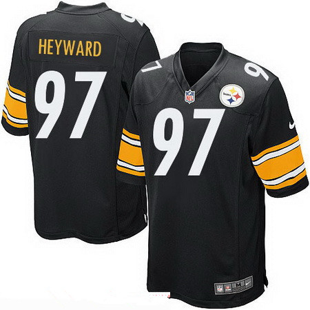 ... 36 Mens Pittsburgh Steelers 97 Cameron Heyward Black Team Color  Stitched NFL Nike Game Jersey Mitchell And Ness Jerome Bettis Mens White  Authentic ... d003f9573