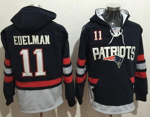 Nike Patriots #11 Julian Edelman Navy Blue Sawyer Hooded Sweatshirt NFL Hoodie