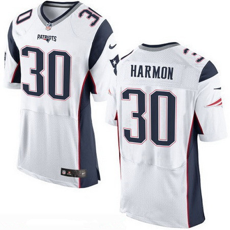 7a22e41dd ... Mens New England Patriots 30 Duron Harmon NEW White Road Stitched NFL  Nike Elite Jersey ...