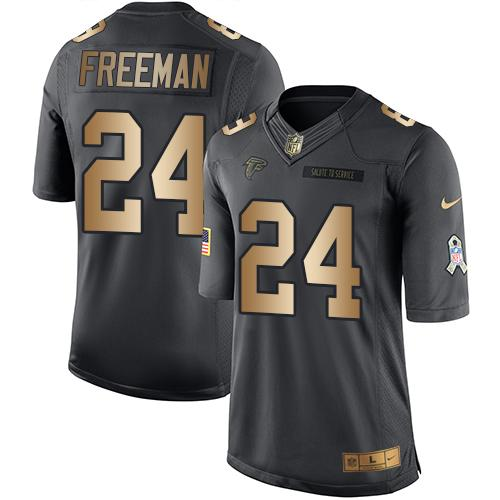 ID96016 Nike Falcons #24 Devonta Freeman Black Men\'s Stitched NFL Limited Gold Salute To Service Jersey