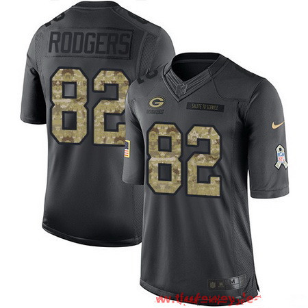 ID95963 Men\'s Green Bay Packers #82 Richard Rodgers Black Anthracite 2016 Salute To Service Stitched NFL Nike Limited Jersey