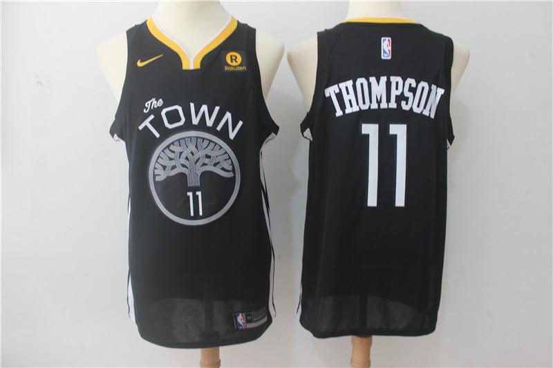 Warriors 11 Klay Thompson Black Nike Swingman Jersey