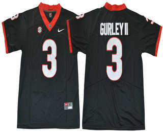 Men's Georgia Bulldogs #3 Todd Gurley II Black Limited 2017 College Football Stitched Nike NCAA Jersey