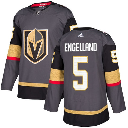 Adidas Golden Knights #5 Deryk Engelland Grey Home Authentic Stitched NHL Jersey