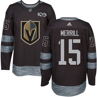 Adidas Vegas Golden Knights #15 Men's Jon Merrill Premier Black 1917-2017 100th Anniversary NHL Jersey