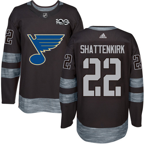 Blues #22 Kevin Shattenkirk Black 1917-2017 100th Anniversary Stitched NHL Jersey