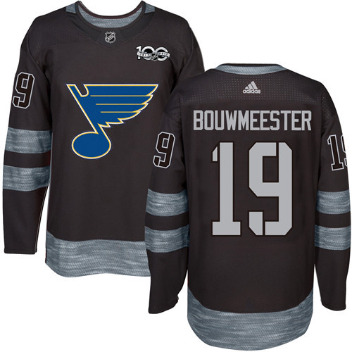Blues #19 Jay Bouwmeester Black 1917-2017 100th Anniversary Stitched NHL Jersey
