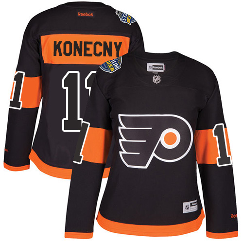 Flyers #11 Travis Konecny Black 2017 Stadium Series Women's Stitched NHL Jersey