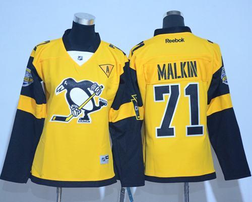 Penguins #71 Evgeni Malkin Gold 2017 Stadium Series Women's Stitched NHL Jersey
