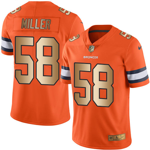 Nike Broncos #58 Von Miller Orange Men's Stitched NFL Limited Gold Rush Jersey