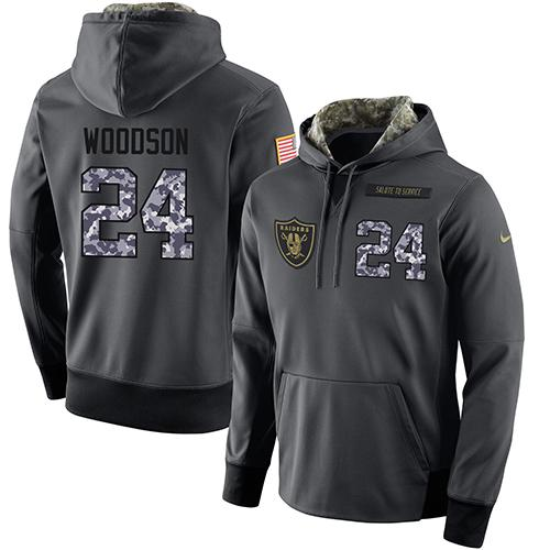 NFL Men's Nike Oakland Raiders #24 Charles Woodson Stitched Black Anthracite Salute to Service Player Performance Hoodie