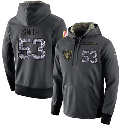 NFL Men's Nike Oakland Raiders #53 Malcolm Smith Stitched Black Anthracite Salute to Service Player Performance Hoodie