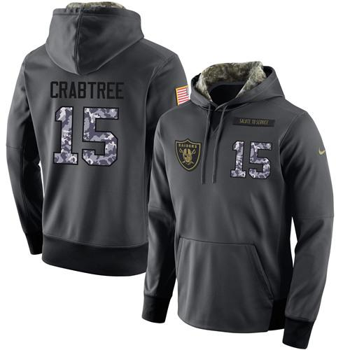 fdf21c717 NFL Men s Nike Oakland Raiders  15 Michael Crabtree Stitched Black  Anthracite Salute to Service Player Performance Hoodie