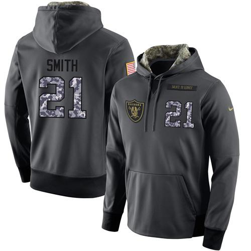 NFL Men's Nike Oakland Raiders #21 Sean Smith Stitched Black Anthracite Salute to Service Player Performance Hoodie