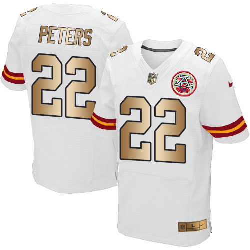 ID96194 Nike Chiefs #22 Marcus Peters White Men\'s Stitched NFL Elite Gold Jersey