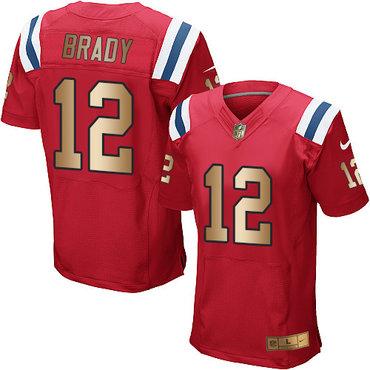 644d366bb10 Nike Patriots  12 Tom Brady Red Alternate Men s Stitched NFL Elite Gold  Jersey