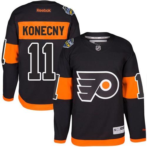 Flyers #11 Travis Konecny Black 2017 Stadium Series Stitched Youth NHL Jersey