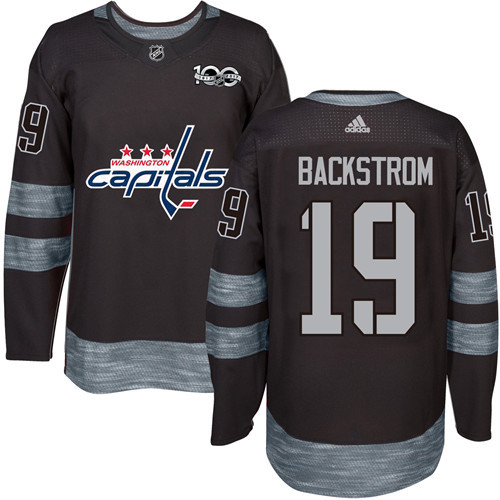 Men's Washington Capitals #19 Nicklas Backstrom Black 100th Anniversary Stitched NHL 2017 adidas Hockey Jersey