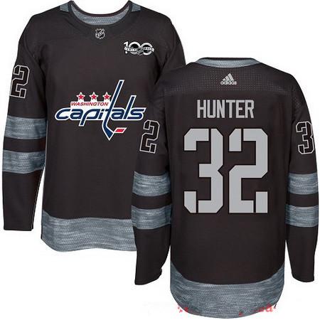 Men's Washington Capitals #32 Dale Hunter Black 100th Anniversary Stitched NHL 2017 adidas Hockey Jersey