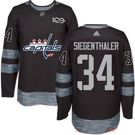 Men's Washington Capitals #34 Jonas Siegenthaler Black 100th Anniversary Stitched NHL 2017 adidas Hockey Jersey