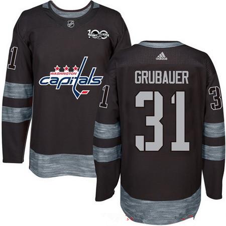 Men's Washington Capitals #31 Philipp Grubauer Black 100th Anniversary Stitched NHL 2017 adidas Hockey Jersey