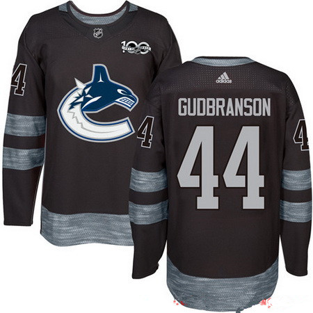 Men's Vancouver Canucks #44 Erik Gudbranson Black 100th Anniversary Stitched NHL 2017 adidas Hockey Jersey