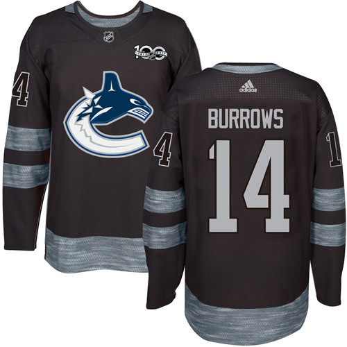 Men's Vancouver Canucks #14 Alex Burrows Black 100th Anniversary Stitched NHL 2017 adidas Hockey Jersey