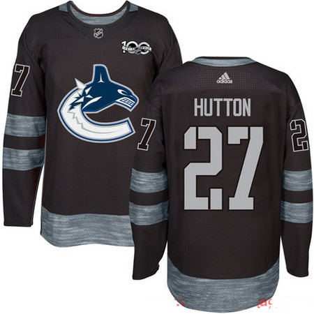 Men's Vancouver Canucks #27 Ben Hutton Black 100th Anniversary Stitched NHL 2017 adidas Hockey Jersey
