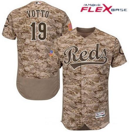 c7c31acbb Men s Cincinnati Reds  19 Joey Votto Camo Stitched MLB Majestic Flex Base  Jersey