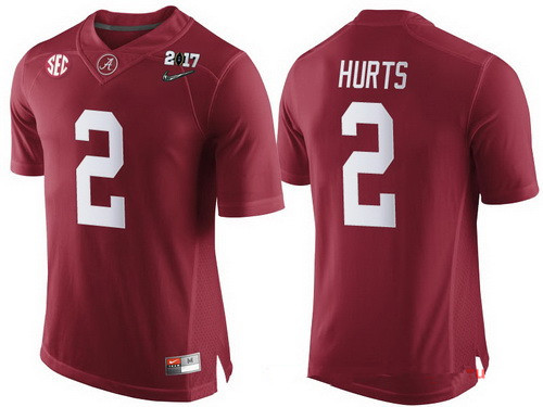 Men's Alabama Crimson Tide #2 Jalen Hurts Red 2017 Championship Game Patch Stitched CFP Nike Limited Jersey