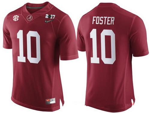 Men's Alabama Crimson Tide #10 Reuben Foster Red 2017 Championship Game Patch Stitched CFP Nike Limited Jersey