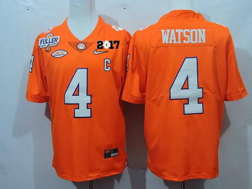 Men's Clemson Tigers #4 Deshaun Watson Orange Diamond Quest 2017 Championship Game Patch Stitched CFP Nike Limited Jersey
